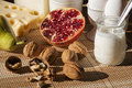 Breakfast with mediterranean food fruits and dairy products Stock Photo