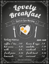 Breakfast menu on the chalkboard text outlined free fonts lobster yesteryear Royalty Free Stock Images