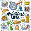 Breakfast menu design elements. Vector doodle illustration. Calligraphy lettering and traditional breakfast meal