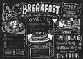 Breakfast menu design template. Modern lettering with sketch icons of food on chalkboard background. Restaurant, cafe Royalty Free Stock Photo