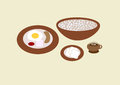 Breakfast menu set most popular healthy dishes for Stock Photos