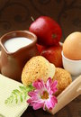 Breakfast with milk , boiled egg sesame buns Stock Images