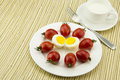 Breakfast milk egg and tomato the color is very beautiful the taste is very delicious also nutritious food Stock Photos