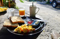Breakfast in morning at resort phang nga thailand foods vary widely from place to place but often include a carbohydrate such as Royalty Free Stock Photography
