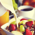 Breakfast Muesli, Black Coffee And Orange Juice Concept Royalty Free Stock Photo