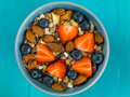 Breakfast Muesli Cereals With Strawberries and Blueberries Fruit Royalty Free Stock Photo