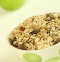 Breakfast, muesli and green apple Royalty Free Stock Photo