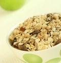 Breakfast, muesli and green apple Royalty Free Stock Photo