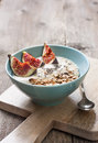 Breakfast with muesli, yogurt, figs Royalty Free Stock Photo
