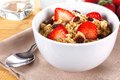 Breakfast oatmeal bowl of cereal with strawberries and raisins Stock Photo
