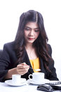 Breakfast in office woman having big continental asian caucasian smiling looking at Stock Photography