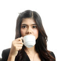 Breakfast in office woman having big continental asian caucasian smiling looking at Royalty Free Stock Photography
