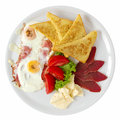 Breakfast overhead traditional served with fresh salad and french toast shot Royalty Free Stock Image