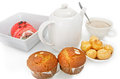 Breakfast  pate a choux, fruit cake,banana cake an Stock Photography
