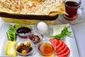 Breakfast plate breakfast menu culture and enjoy reading table healthy Stock Image