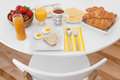 Breakfast is ready white round table with healthy morning meal Stock Image