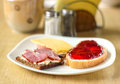 Breakfast with sandwiches on Stock Photography