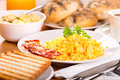 Breakfast with scrambled eggs Royalty Free Stock Photo
