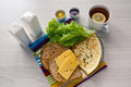 Breakfast with scrambled eggs on a transparent plate toast Royalty Free Stock Photo