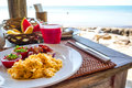 Breakfast at a seaside table in Vietnam Royalty Free Stock Photo