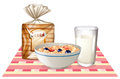 Breakfast set with bread and cereal Royalty Free Stock Photo