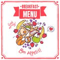 Breakfast sketch menu restaurant with fruits bacon and eggs toasts croissant vector illustration Stock Photo