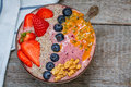 Breakfast smoothie berry bowl Royalty Free Stock Photo