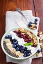 Breakfast smoothie bowl with fruits Royalty Free Stock Photo