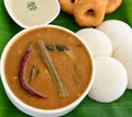 Breakfast in south indian sub continent idli vada sambhar chutney served for india sri lanka malaysian Royalty Free Stock Photos