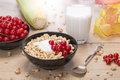 Breakfast stilllife with cereals fruits and milk Stock Photos