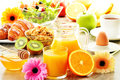 Breakfast on the table with coffee juice croissant salad muesli and egg swedish buffet Stock Photos