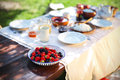 Breakfast table with plate of fresh berries, outsi Royalty Free Stock Photography
