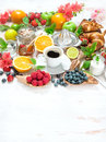Breakfast table setting with coffee and croissants. Healthy food Royalty Free Stock Photo