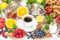 Breakfast table setting with coffee, croissants, muesli, honey. Royalty Free Stock Photo