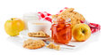Breakfast with tea and fresh cookies on white background Stock Images