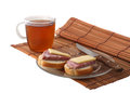 Breakfast tea and sandwiches Stock Image