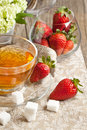 Breakfast with tea and strawberries Royalty Free Stock Photos