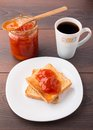 Breakfast with tea toast and apricot jam black Royalty Free Stock Photography