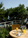 Breakfast on terrace Royalty Free Stock Photo