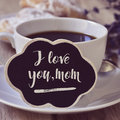 Breakfast and text I love you mom Royalty Free Stock Photo