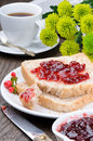 Breakfast with toasts, coffee and jam Royalty Free Stock Photos
