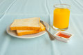 Breakfast with toasts jam and orange juice morning Stock Photo