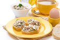 Breakfast toasts with tuna and homemade cheese coffee milk egg isolated Stock Photo