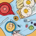 Breakfast top view. Square illustration with luncheon. Healthy, fresh brunch tea, sandwiches, eggs and fruits. Colorful