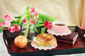 Breakfast Tray and FLowers Stock Photos