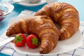 Breakfast with two croissants Royalty Free Stock Photography
