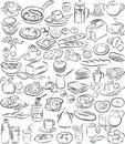 Breakfast vector illustration of collection in black and white Royalty Free Stock Image