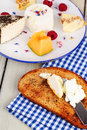 Breakfast with white cheese Royalty Free Stock Images