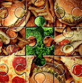Breaking bad eating habits and choosing the healthy food for a healthier lifestyle as a junk food jigsaw puzzle with one piece Stock Photography