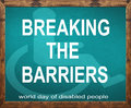 Breaking the barriers written on blue blackboard Royalty Free Stock Photo
